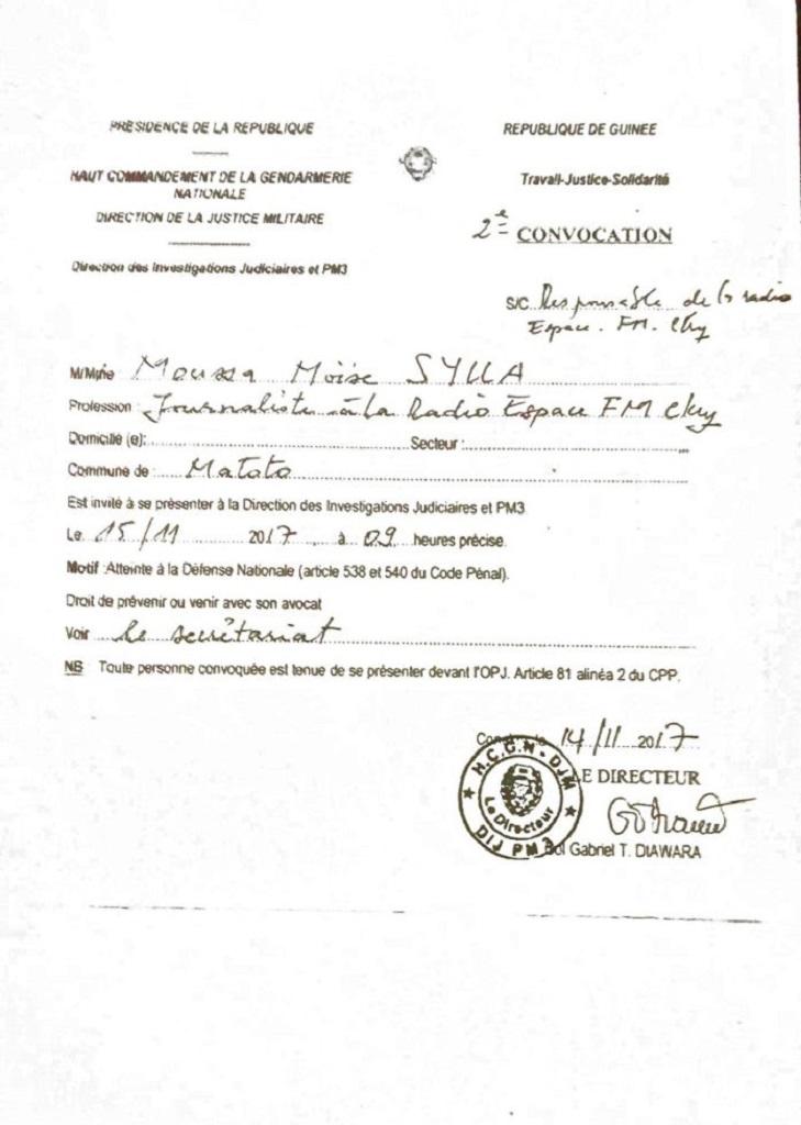 Le journaliste Moussa Moïse Sylla à nouveau convoqué à la gendarmerie