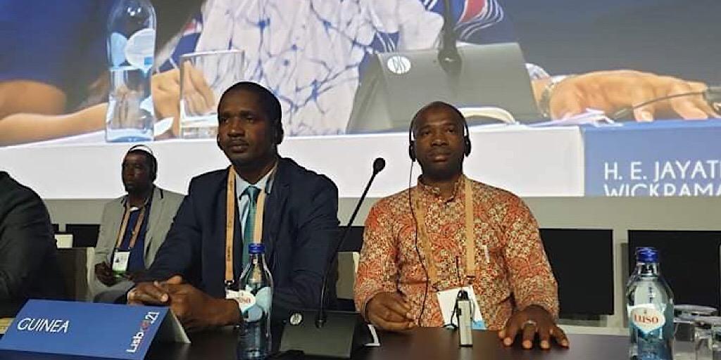 Guinée / Lisbonne/Portugal : le ministre de la jeunesse, Mouctar DIALLO rencontre le Président de la république portugaise, Marcelo Rebelo De Sousa à la conférence mondiale des ministres de la jeunesse