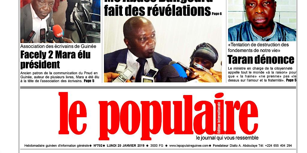 Chez vos marchands de journaux ce matin : Le Populaire Nº702 du lundi 20 janvier 2020 Edition internationale (+ tout le contenu)