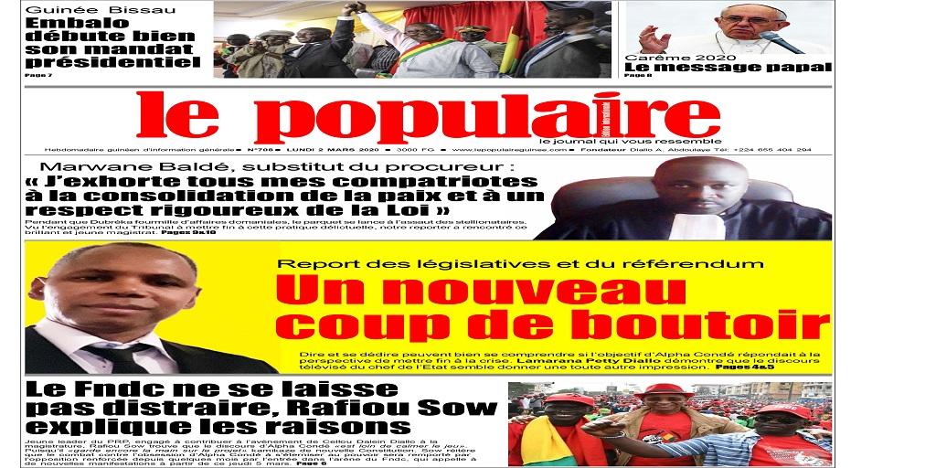 Chez vos marchands de journaux ce matin : Le Populaire n°708 du lundi 2 mars 2020 Edition  internationale (+ tout le contenu)